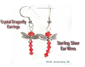 Dragonfly Earrings, Outlander Dragonfly, Crystal Dragonflies, - E0902-18
