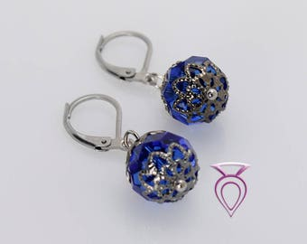 Handcrafted Royal Blue Glass Earrings