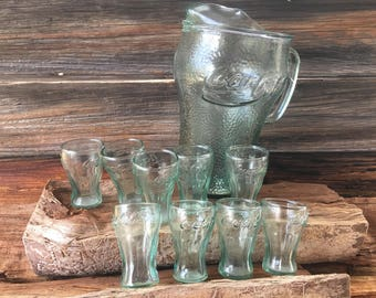 Mid Century, Coca Cola, Pitcher, with (9) Mini Glasses, Home and Living, Vintage Kitchen, Green Glass, Barware