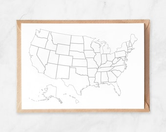 USA Travel Map Postcard, USA Map Postcard, US Travel Map Greeting Card, United States Map, Usa Outlines Map, White Usa Note Card Postcard