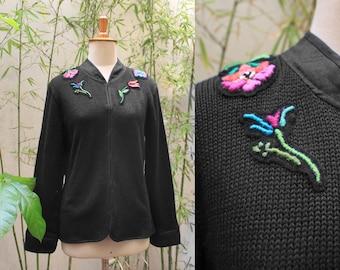Black cotton jacket, summer jacket, spring cardigan, knits, embroidery jacket
