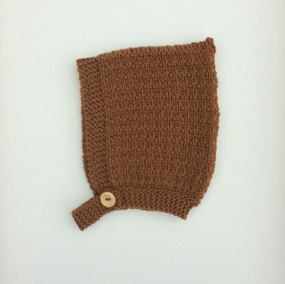 Pine Pixie Hat with Button Fastening - Toffee - Made to Order