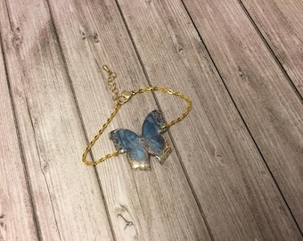 Shiny wings - blue butterfly with polka dots fairy wings bracelet collection