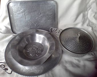 Hammered Aluminum , Serving tray, bowl , covered bowl, mid Century, serving peices, 5 pc.