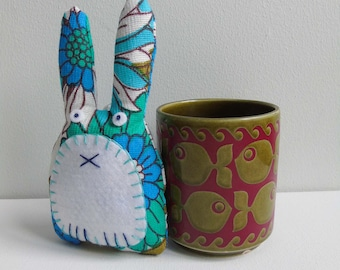 Vintage fabric lavender rabbit in turquoise and cobalt blue