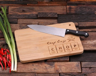 Personalized Wood Cutting Chopping Board Engraved Monogrammed Periodic Table (024186)