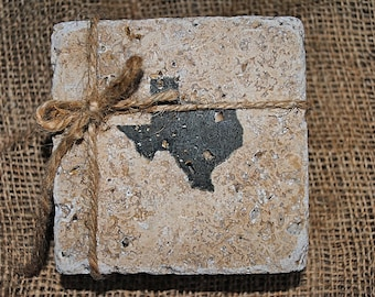 Texas Home Decor, State of Texas, Texas Coasters, State Silhouette Coasters, White Elephant Gift, Set of 4 Stone Coasters, Rustic Coasters