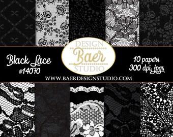 Black Lace Digital Paper, Black Digtial Paper, Wedding Digital Paper, Digital Paper Black and White, Digital Scrapbook Paper, #14070