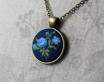 Small Navy Blue Pendant, Floral Fabric Cute Necklace, Hippie, Retro