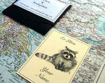 Ex Libris Racoon 25 Personalized Booklabels Bookplates