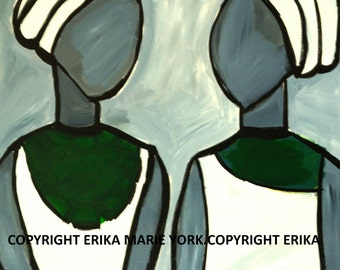 Cloth Girls One Original Painting by Erika York 22 in. by 28 in. Canvas