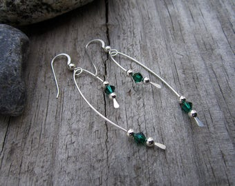 Emerald Green Crystal Vine Sterling Silver Earrings