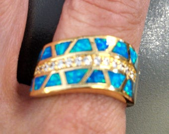 Opal inlay with Zircon crystals G over S plated ring - Size 8