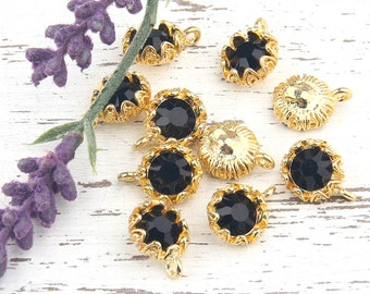 Black, Crystal Charm Pendant with Floral Backed Bezel Setting, 22k Shiny Gold Plated,1 piece // GP-454