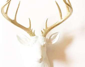 WHITE GoLD, XL Faux Taxidermy Deer Head, Deer Head wall mount, Stag Head wall hanging, Faux Animal Head, XL Deer,  White Deer Head, Stag
