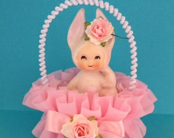 Mother's Day Decoration Vintage Lefton Bunny Girl Mothers Day Ornament TVAT