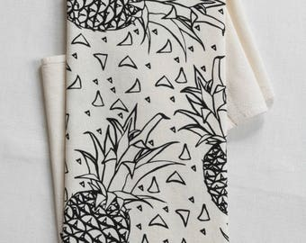 Pineapple Tea Towel - Organic Cotton - Eco Friendly Kitchen Towels - Screen Printed - Organic Flour Sack Towel - Tropical Decor - Black