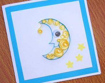 Moon quilled greeting card