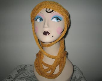 Tan Ininity Rope Scarf Knitted Homemade by SuzannesStitches, Tan Multistrand Light Weight Scarf, Light Weight Rope Scarf, Gold Lariot Scarf