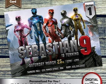 Power Rangers Birthday Party Invitation customized printable invite for boys or girl of any age + Free Thank You Card