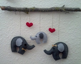 Plush Elephants Wall Hanging