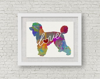 Standard Poodle Love - A Colorful Watercolor Print - Gift for Dog Lovers - Pet Artwork - Pet Loss Gift - Memorial - That Can be Personalized