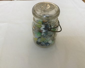 Ball jar with vintage marbles