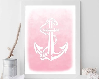Pink Anchor, Pink Print, Pink Nautical Print, Pink Decor, Anchor Print, Anchor Prints, Anchor Art, Beach Art, Nautical Wedding Decor
