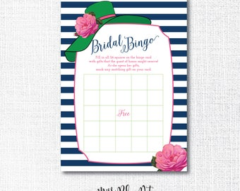 Big Hat Shower BINGO Game, Printable, card, Derby, Tea Party, Bridal, They're off to the Altar, Instant Download, Navy, Green, Pink