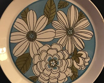 Vintage Plate Mikasa Turquoise and Green Platter Deep Dish Plate Flower Power Funky 70's Design