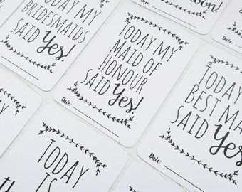 Classic Wedding Milestone Cards. Neutral Monochrome Design. Celebrate your wedding milestone moments. Great Engagment Gift.