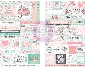 Prima - Havana Collection - Cardstock Stickers with Foil Accents - Quotes & Words