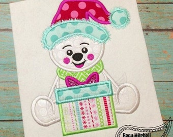 Christmas Bear with present Applique Embroidery Design
