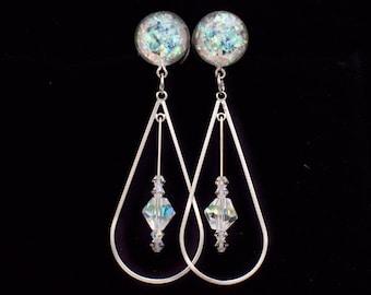Holographic Crystal Teardrop Dangle Plugs  / 6g, 4g, 2g, 0g, 00g, 7/16, 1/2, 9/16, 5/8in / dangle plugs / hanging gauges / Wedding Plugs