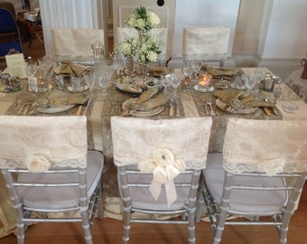 Vintage style chair covers in Damask & Lace