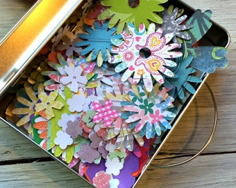 Flower Die Cut Paper Shapes - Paper Punches - Scrapbooking Flowers-  Journaling -  Paper Embellishments - package of 50