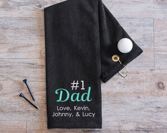 Personalized Dad Golf Towel: Embroidered Dad Golf Towel, Personalized Father's Day Gift, Father's Day Golf Gift, Gift for Dad, SHIPS FAST