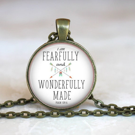 Bronze Psalm 139 Bible Verse Pendant - I am Fearfully and Wonderfully Made Psalm 139 - Catholic Necklace