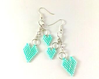 Mint green earrings Mint Beaded earrings Mint earrings Mint Seed bead earrings Small hearts gift Mint jewelry Mint wedding