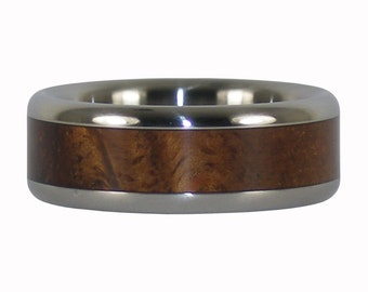 Curly Koa Titanium Ring