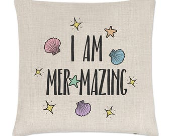 I Am Mer-mazing Linen Cushion Cover