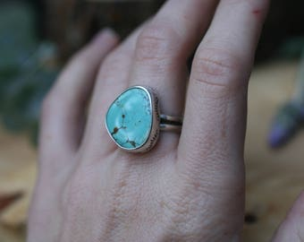 Number 8 Turquoise ring Size 8, sterling silver turquoise jewelry, stamped bezel ring