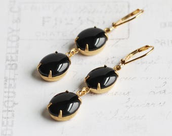 Solid Black Earrings on Gold Plated Hooks, Black Dangle Earrings, Rhinestone Jewelry (Clip On Available)