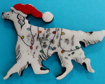 English Setter Christmas Pin, Magnet or Ornament-Color Choice-Free Shipping-Hand Painted- Free Personalization Available