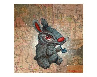 Pipe Smoking Bunny with a Moustache - Reproduction - Mr. Hooper Art