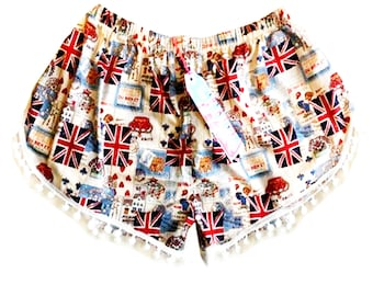 "The ""Best of British"" Union Jack Print Pom Pom Shorts"