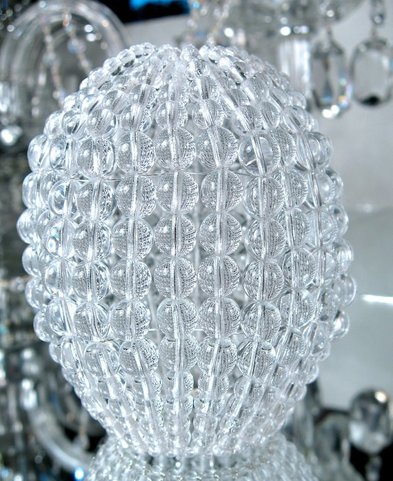 Large pressed glass beaded bulb cover pendant lamp shade mozeypictures Choice Image
