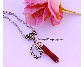 Blood Necklace,  Vampire Realistic Blood Glass .5mm vial Necklace , 18 Charm Choices , Goth , By: Tranquilityy