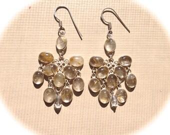 Sterling Silver Rutilated Quartz Chandelier Earrings