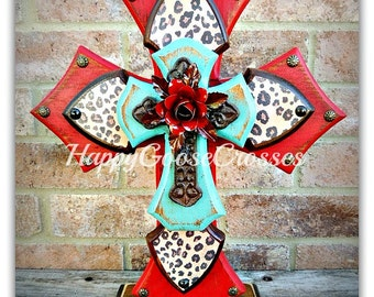 Large Standing Cross - Antiqued Red, Turquoise, Leopard/Cheetah print, and iron cross with red iron rose